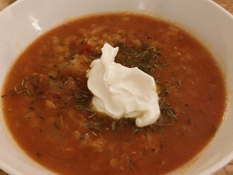Himmelsk linssoppa med sötpotatis