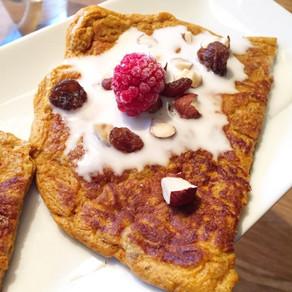 Saffranspannkaka med sötpotatis – som en lussekatt i en pannkaka