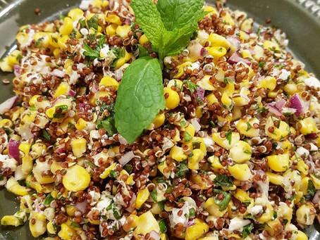 Quinoasallad med mynta, fetaost & majs