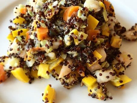 Quinoasallad med räkor & zucchini