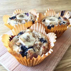 Frukostmuffins med banan & blåbär