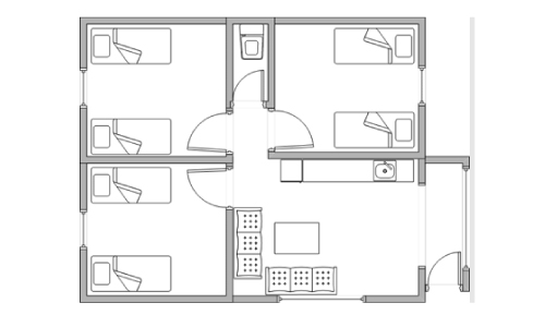 pleasurelea_batemansbay_accommodation_bunkhouse_floorplan