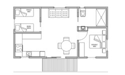 pleasurelea_batemansbay_accommodation_twobed_del_floorplan