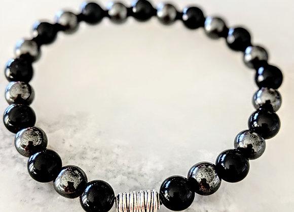 Obsidian & Hematite Bracelet