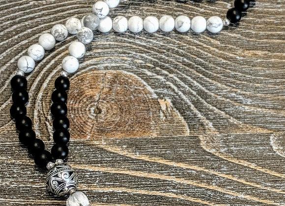 Mala Necklace - Howlite & Onyx