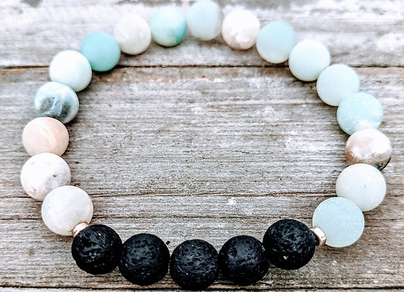 Amazonite (Matte) Lava Stone Bracelet