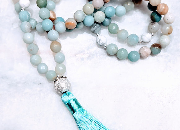 Mala Necklace - Amazonite & Howlite