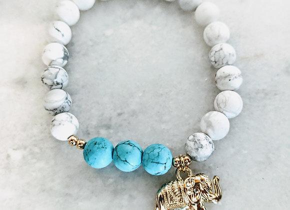 Mala Bracelet - Howlite & Turquoise