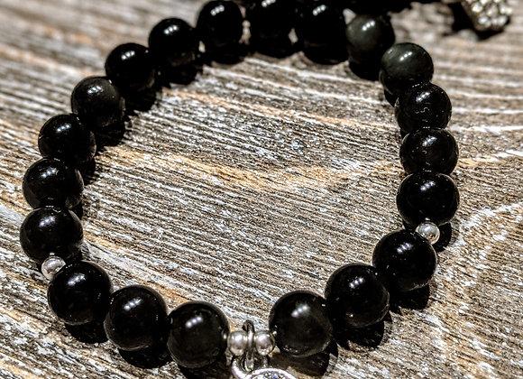 Mala Bracelet - Obsidian