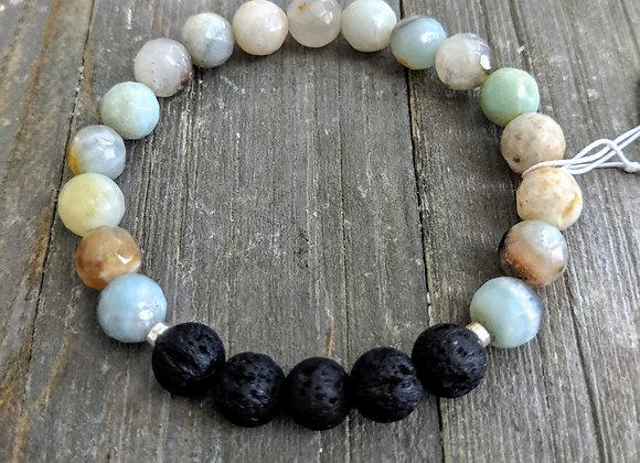 Amazonite (faceted) Lava Stone Bracelet