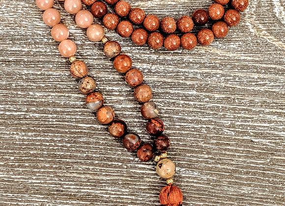 Mala Necklace - Goldstone, Sunstone & African Opal
