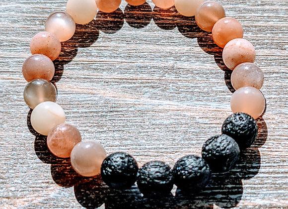 Moonstone Lava Stone Bracelet