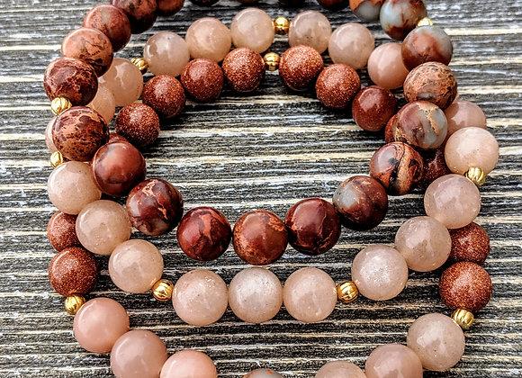 Mala Bracelet - Goldstone, Sunstone & African Opal