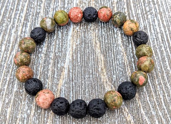 Unakite Lava Stone Bracelet
