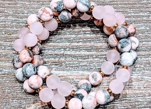 Pink Zebra Jasper & Rose Quartz Bracelet