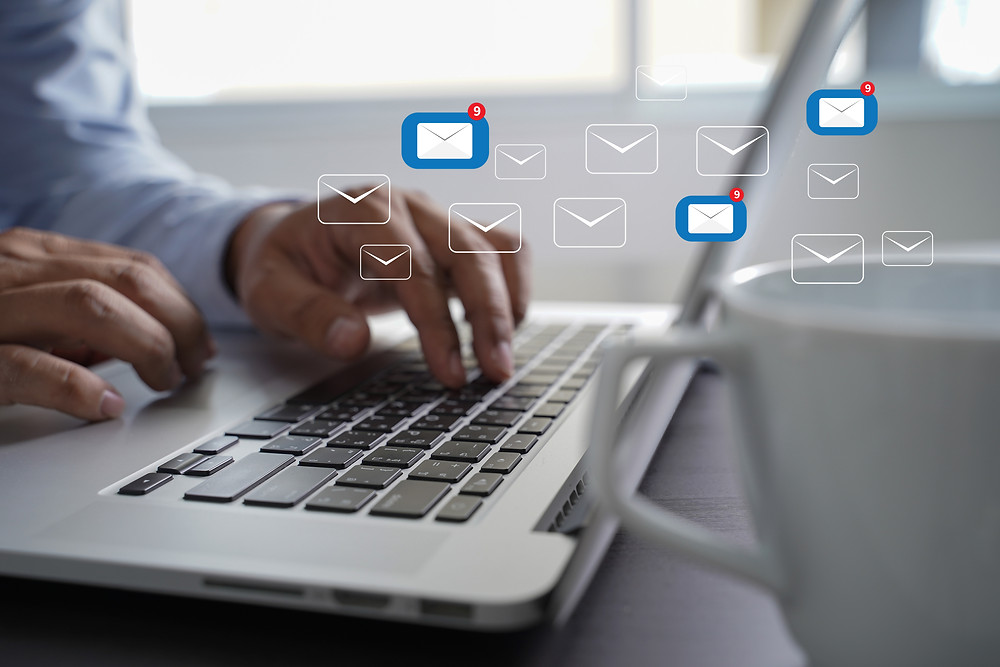 eMail Communication Connection message to mailing contacts phone Global Letters Concept