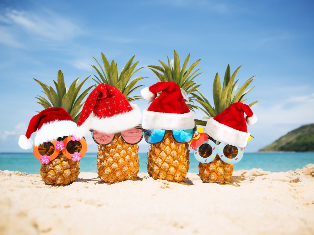 Family of funny, attractive pineapples in stylish sunglasses on the sand against turquoise sea. Wearing Christmas hats. Christmas and new year vacation concept on a tropical beach. Family holiday. Bright