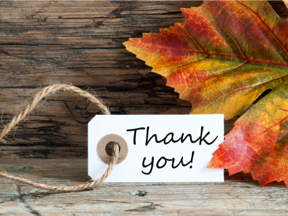An Autumnal Label with the Words Thank You for Thanks Giving