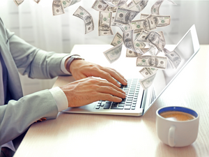 Content Marketing. Make money on the Internet. Man working with laptop in the office