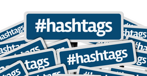 Lots of blue boxes with the words #hashtags