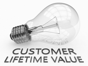 Customer Lifetime Value - lightbulb on white background with text under it.