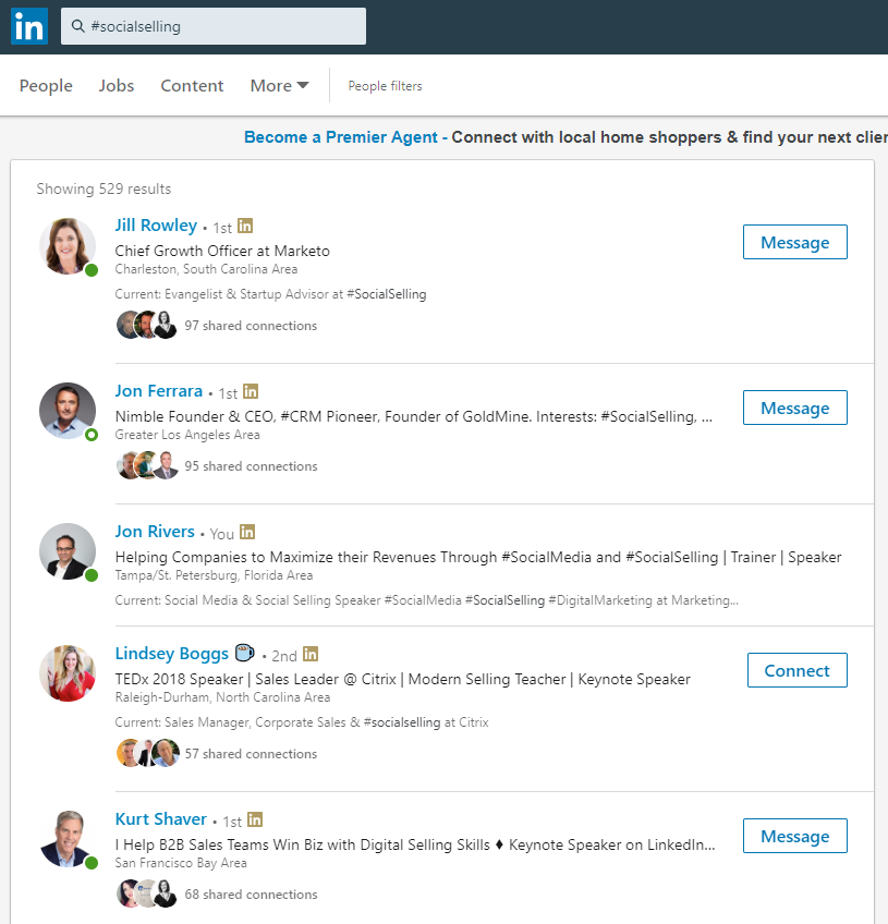 Screenshot of LinkedIn showing a sample of how Hashtags work