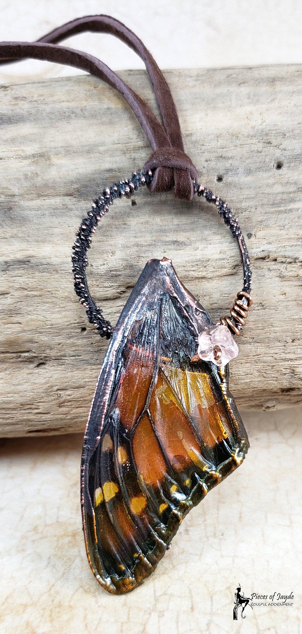 Real monarch butterfly wing pendant by Pieces of Jayde