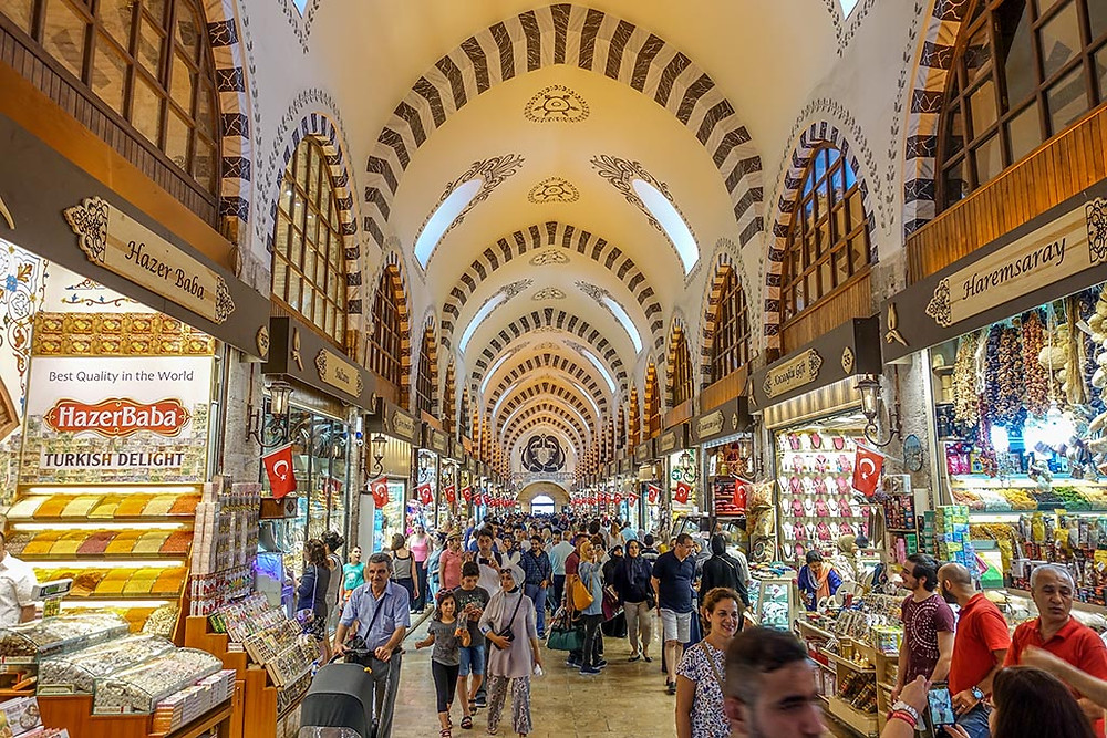 Inside of the Spice Bazaar in Istanbul