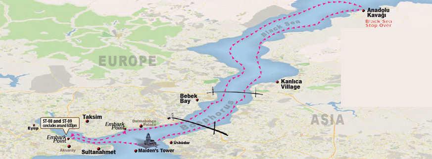 Bosphorus Cruise Map