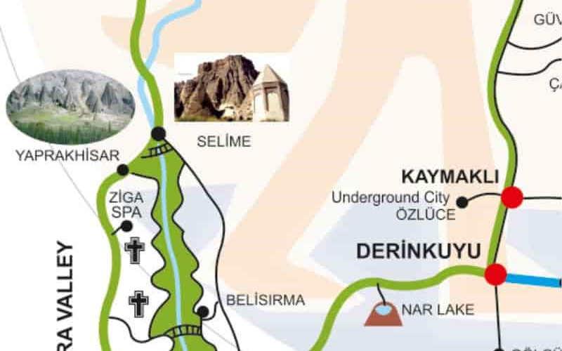 Map of Green Tour South Cappadocia