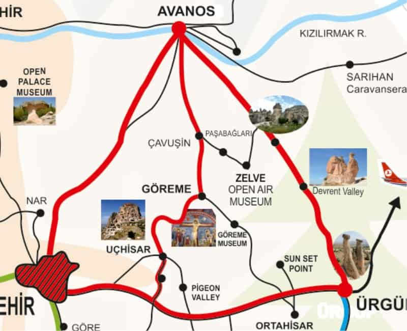 Map of Red Tour North Cappadocia