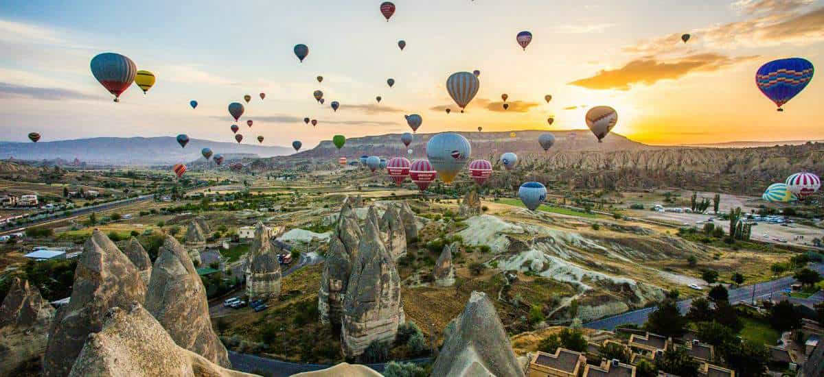 View of the Cappadocia with Balloons