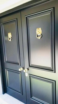 Black double security door