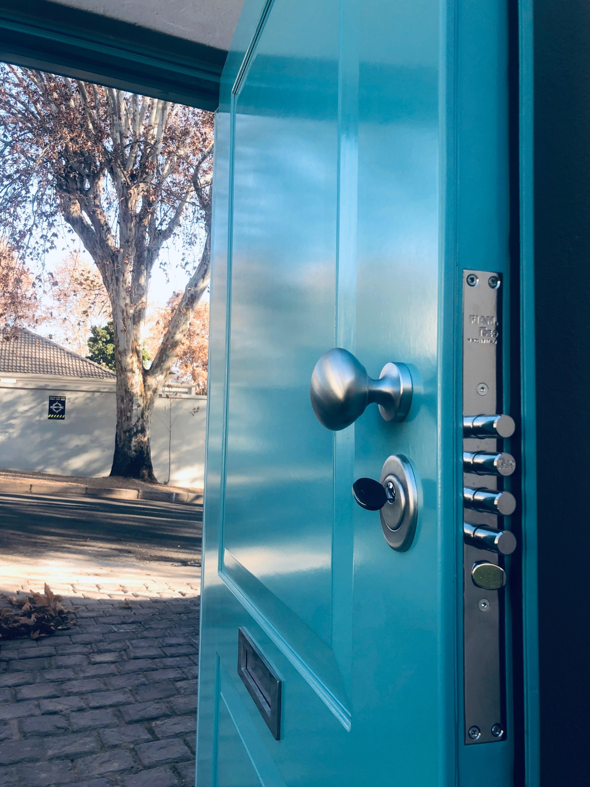 turquoise armored door with letter box_e