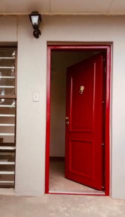 Front Entrance Security Door. Heritage Red