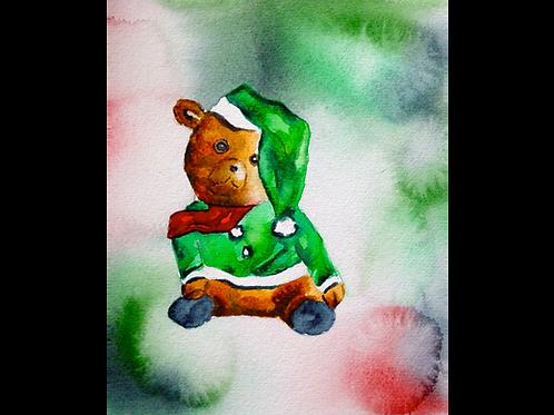 "Santa Bear in Green 8""x10"" Print"
