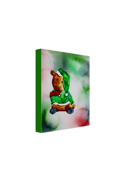"Santa Bear in Green 8""x10"" Canvas Print"