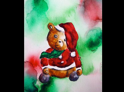 """Santa Bear in Red 8""""x10"""" Print"""