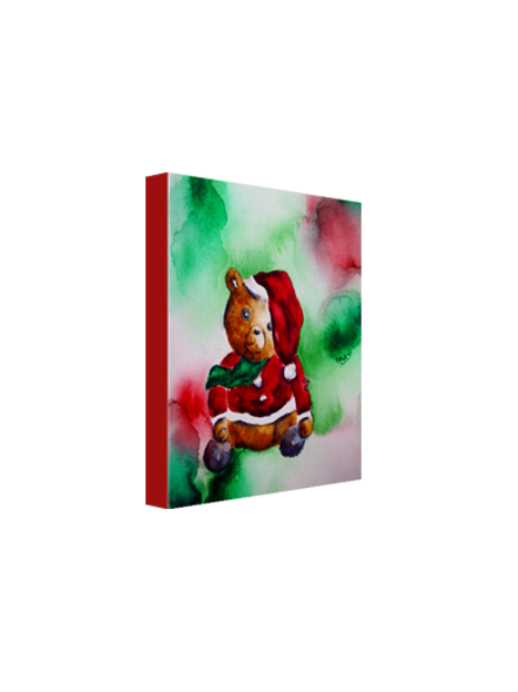 "Santa Bear in Red 8""x10"" Canvas Print"