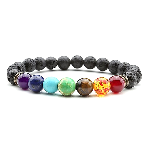 7 Chakra Healing Lava Bracelet