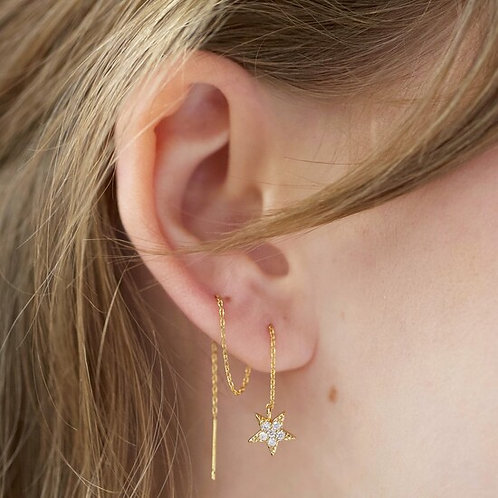 Thread Through Moon and Star Chain Earrings in Gold