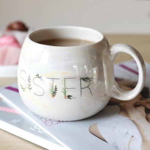 Iridescent Floral Sister Mug