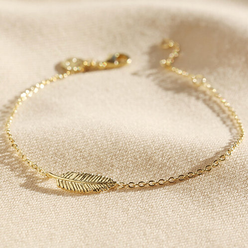 Delicate Gold Sterling Silver Feather Bracelet