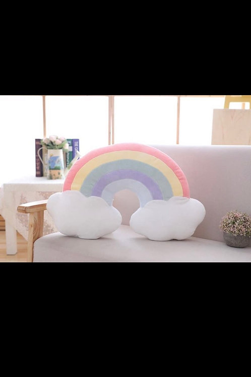 Rainbow cloud pillow