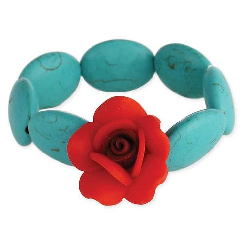 Turquoise & Rose Stretch Bracelet