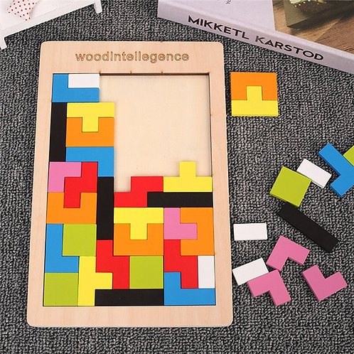 Colorful Tetris Toy Wooden Game