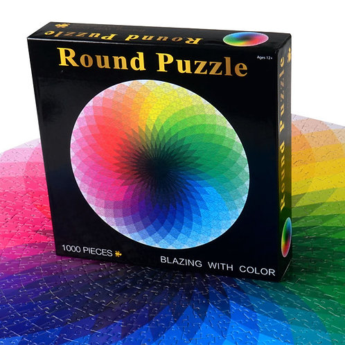 1000 piece Round Rainbow Puzzle for kids and adults