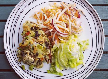 Garlic Chicken and Green Vegetable Frittata