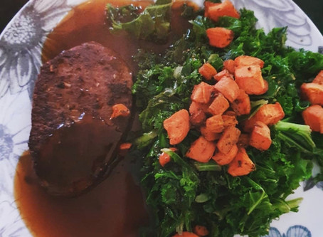 Vegetarian Steak with Kale and Roast Sweet Potato and Carrot (vegan with no gravy)