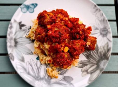 Vegan Meatballs and Cauliflower Mash